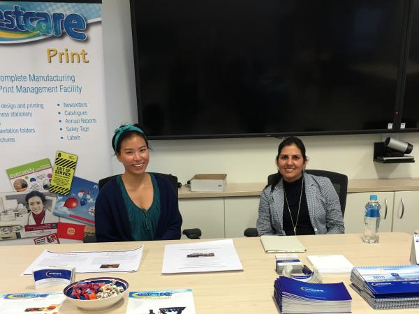 Westcare's Sherry Kaur and Janel Wong promote Westcare at the NDIS Expo